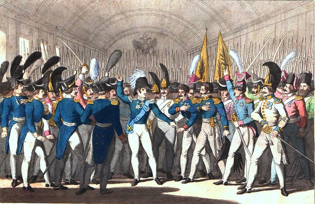 Николай I сообщает гвардии овосстании вПольше.